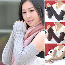 Fashion Men Women Knitted Cotton Arm Warmers Winter Fingerless Gloves New ZX