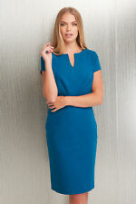 Roman Originals Notch Neck Crepe Dress Teal Size 10-20