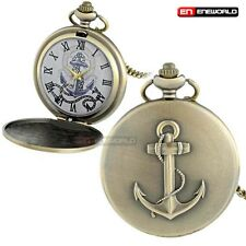 Antique Pocket Watch Chain Bronze Ship Anchor Pendant Quartz Necklace Gift UK