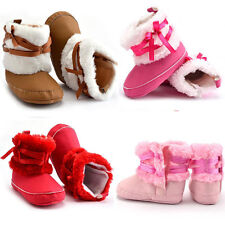 Baby Girls Boys Soft Warm Snow Boots Toddler Infant Bowtie Crib Shoes 0-18M