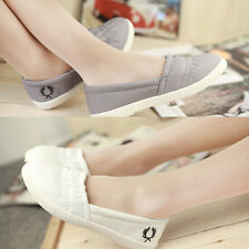Girls Plain Canvas Flats Single Shoes Flat Loafers Casual Durable Ballet Shoes
