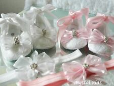 Baby Girls White Pink Satin Christening Wedding Pram Party shoes Hand Decorated