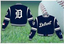 MLB Detroit Tigers JH Design Adult Men Blue Twill Cotton L Large Jacket BNWT New