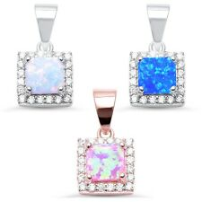 Sterling silver Opal & CZ Pendant Three colors to choose from Perfect Gift!