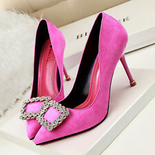 Pointed Toe High Heel Suede Rhinestone Buckle Pumps Women OL Party Wedding Shoes
