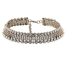 Vintage Women Punk Metal Chunky Choker Necklace Rhinestone Gold Silver Plated