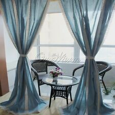 Blue Lace Crochet Cotton Linen Curtain Home Bedroom Vintage Country Style Decor