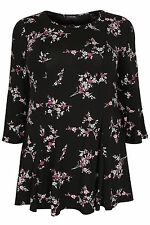 Yoursclothing Plus Size Womens Floral Print Peplum Top With Frill Cuffs