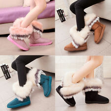 Women Ladies Suede Faux Fur Warm Winter Mid Calf Snow Boots Low Ankle Boots New
