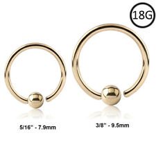 "18KT Solid Gold Captive Nose Ring Hoop Septum 5/16"" or 3/8"" 18 Gauge 18G"