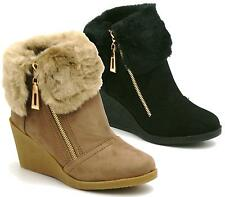 New Womens Ladies Mid Wedge Heel Zip Fur Cuff Lined Ankle Boots Shoes Size Uk