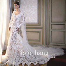 Sexy Sheer Lace Wedding Dress White Mermaid Bridal Gown 2016 Spring Long Sleeve