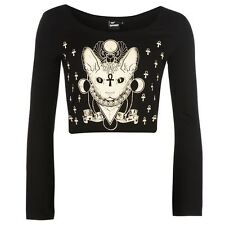 Banned Womens T Shirt Graphic Print Elastic Long Sleeve Scoop Neck Crop Top
