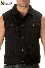 Xelement Men's Black Denim Motorcycle Vest