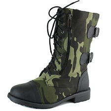 Women Military Combat Bootie Camouflage Mid Calf Casual Lace Up Cowboy Boots