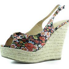 Women Platform Wedges Slingback Satin Floral High Heel Bow Decor Sandal Shoes