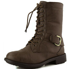 Women's Comfortable Faux Leather Lace Up Military Combat Booties Buckle Detail