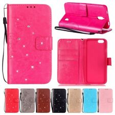 Lanyard Card Holde Diamond Leather Flip Wallet Case Cover Floral For Samsung