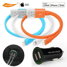 [+Car Charger] 3x OEM Original Flat Lightning USB Data Charger Cable iPhone iPod