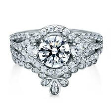 BERRICLE Sterling Silver Round CZ 3-Stone Engagement Ring Set 2.155 Carat