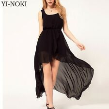 YI-NOKI Chiffon Women Dress Sexy Irregular Dresses Plus Size Fashion Black Dovet