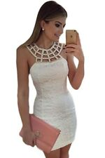 2016 new Design summer Women casual Caged Round Neck White Lace Mini Dress LC226