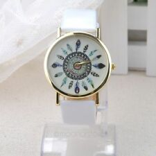 1*Women's Vintage Feather Analog Watches Dial PU Leather Band Quartz Wrist Watch