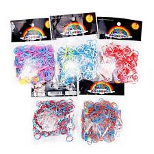 300 PCS 24 Clips Tie Dye Double Rainbow Rubber Bands Loom Refill DIY Bracelet