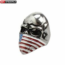 Punk Gothic Rock Skull US Flag Stainless Steel Mens Ring Steampunk Jewelry Gift