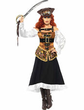 Ladies Victorian Steam Punk Steampunk Pirate Fancy Dress Outfit Costume Medium