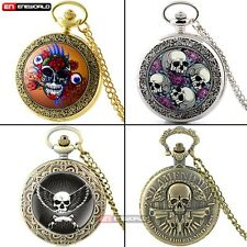 Steampunk Pocket Watch Skull Heads Antique Chain Quartz Necklace Pendant Retro