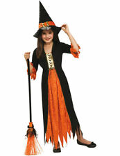 Child Girls Orange Witch Witches Halloween Fancy Dress Costume Outfit