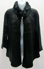 NWT C J BANKS Black Embroidered Sweater Faux fur Collar Sz 14 14W  70839RM