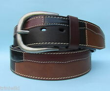 Western Style Jean Real Leather Black Brown Tan Patch Belt