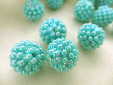 15mm IRIDESCENT OPAGUE LIGHT SKYBLUE ACRYLIC PLASTIC BERRY LOOSE BEADS HP01849
