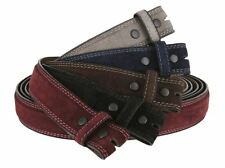 "Suede Material Genuine Real Leather Belt Strap 1-3/8"" (35mm) Wide Stitched Edge"