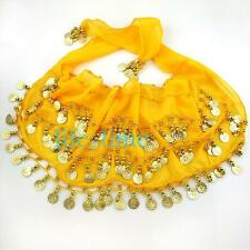 98 coins Chiffon Belly Dance Hip Scarf Waist Chain Waistband Belt
