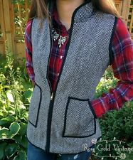 NWT Boutique Woven Herringbone Vest - Black & White - Small, Medium, Large, XL