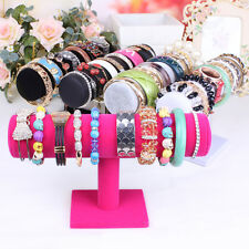 Velvet Women T-Bar Jewelry Rack Bracelet Necklace Stand Organizer Holder Display