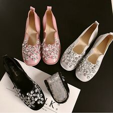 Sweet Rhinestone Shoes Lovely Sparkle Glitter Girls Ballet Flats Comfy Round Toe