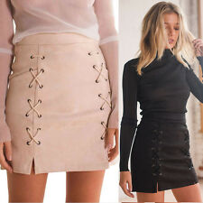 Women Slim Bandage Suede Fabric Mini Skirt Seamless Stretch Tight Short Skirt