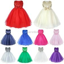 Girls Sequins Tutu Dress Wedding Bridesmaid Pageant Formal Shiny Gown Graduation
