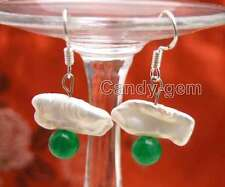 SALE 12-15mm White Natural Biwa Pearl & 6mm Round Green Jade dangle Earring-e442