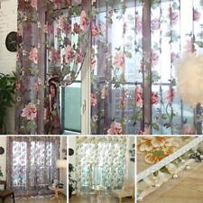 200/250cm Flower Tulle Voile Curtain Window Drape Panel Sheer Divider Valance