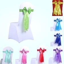 10PCS Satin Chair Cover Sash Bow Band w/Buckle Wedding Party Banquet Home Decor