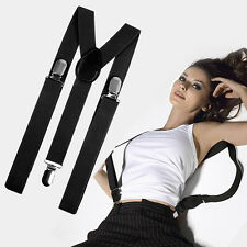 Mens Womens Clip-on Elastic Solid Color Y-Shape Adjustable Braces Suspenders A++