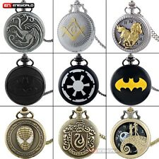 Steampunk Quartz Pocket Watch Women mens gift Pendant Chain Vintage Necklace Lot