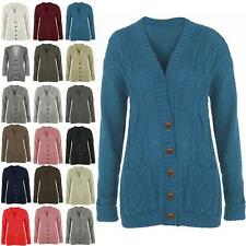 Ladies Long Chunky Cable Knitted Button Womens Grandad Long Sleeve Cardigan 8-14