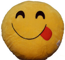 "EMOJI PILLOW SOFT PLUSH ROUND STUFFED CUSHION  EMOTICON  13"" CHOOSE YOUR PILLOW"