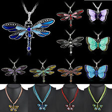 Retro Silver Jewelry Necklace Butterfly Dragonfly Pendant Crystal Sweater Chain